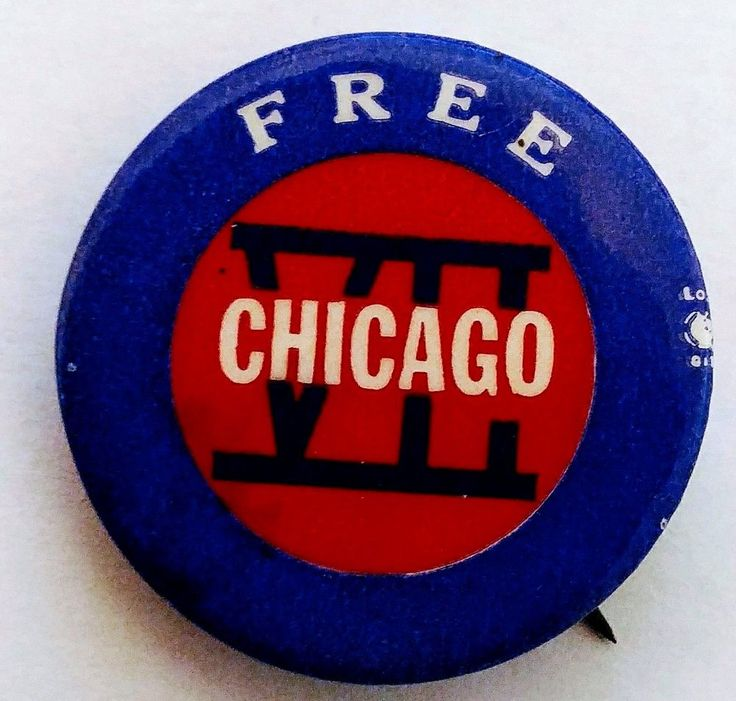 CHICAGO 7 Conspiracy Trial 1969-1970 Abbie Hoffman, Tom Hayden  Pin back Button