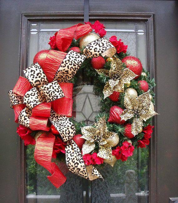 Leopard Christmas Wreath, Christmas Wreath, Door Wreaths, Leopard Print Christmas Decor, Outdoor Wreath