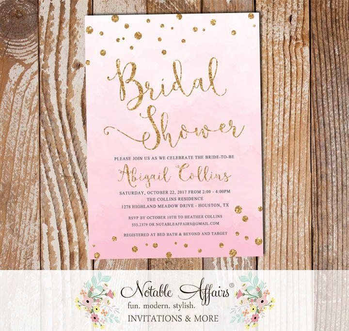 bridal shower invitations registry etiquette%0A Pink Watercolor Gold Glitter Bridal Lingerie Shower invitation with  confetti dots