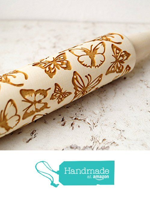 Embossing rolling pin Butterflies, wooden rolling pin, Cookies decorating roller, Laser engraved rolling pin from KMK Studio https://www.amazon.com/dp/B016NFL7Y8/ref=hnd_sw_r_pi_awdo_LtY.xb2DJAF54 #handmadeatamazon