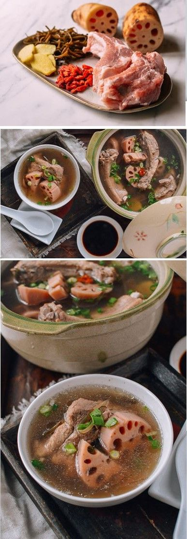 Lotus Root Pork Soup Recipe 2 pounds pork ribs or pork neck bones 1 cup re-hydrated seaweed (optional) 1 pound lotus root 4 slices of ginger 1 tablespoon dried goji berries (optional) 12 cups cold water salt, to taste 1 scallion, finely chopped
