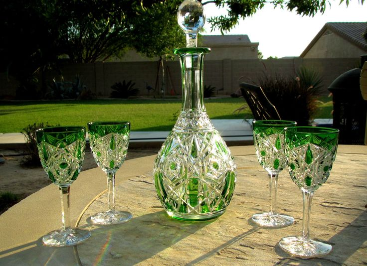 Vintage Baccarat Crystal Emerald Green Cut Clear Lagny Decanter and Port Wine Glasses Set RARE