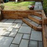 Courtyard paving with Oak sleeper retaining wall, Portslade East Sussex » Arbworx