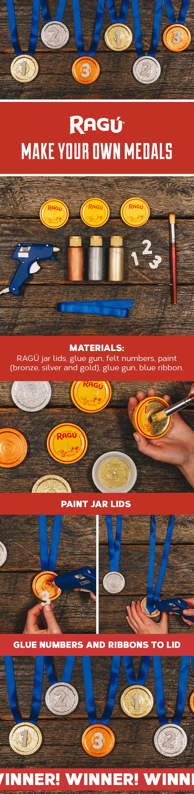 Check out this fun way to recycle RAGÚ sauce jar lids into medals for achievements in your house. This fun and easy DIY craft project for kids is a great award for Best Helper or Best Cook in the House!