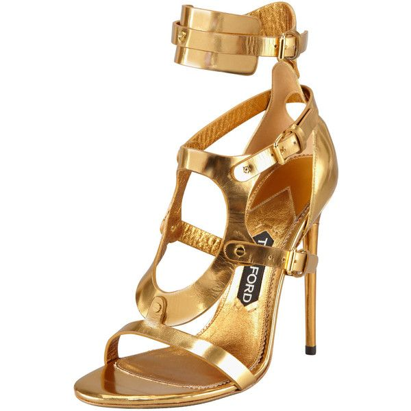 Tom Ford Triple-Buckle Metallic Sandal, Gold ($652) ❤ liked on Polyvore featuring shoes, sandals, heels, sapatos, tom ford, gold high heel sandals, gold sandals, metallic sandals, ankle cuff sandals and open toe heel sandals