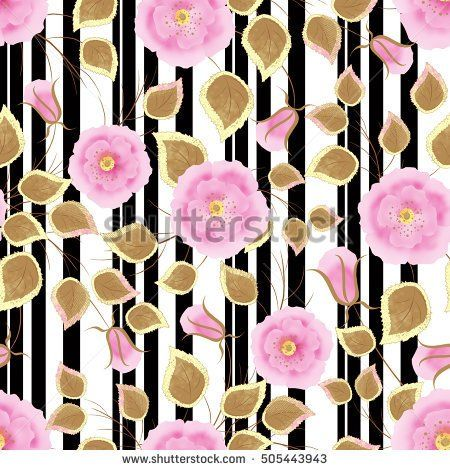Floral seamless pattern ,cute cartoon flowers white background stripes. For printing on fabric and paper.