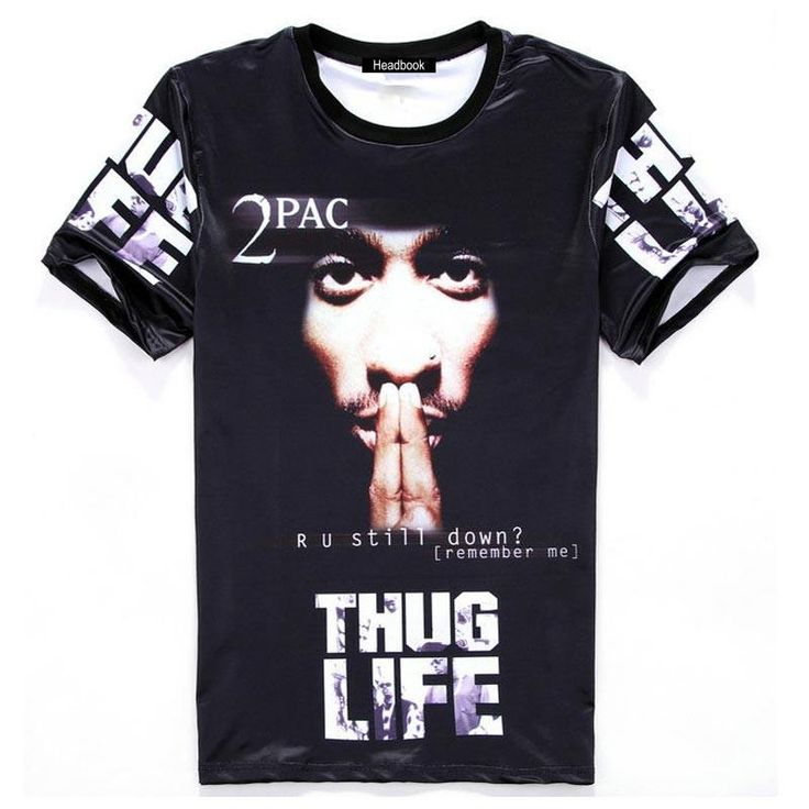 America Hip hop t-shirt men&'s 3d tshirt print Tupac 2pac THUG LIFE t shirt casual tops Young tees H