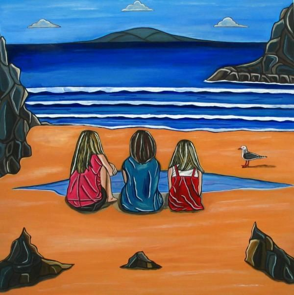Girl Talk was inspired by a day at Little Oneroa beach with a girlfriends and looking over to see the kids deep in conversation. I tried to get their attention but the girls were totally engrossed in the very important business of girl talk.  @Sandra Marie Adams
