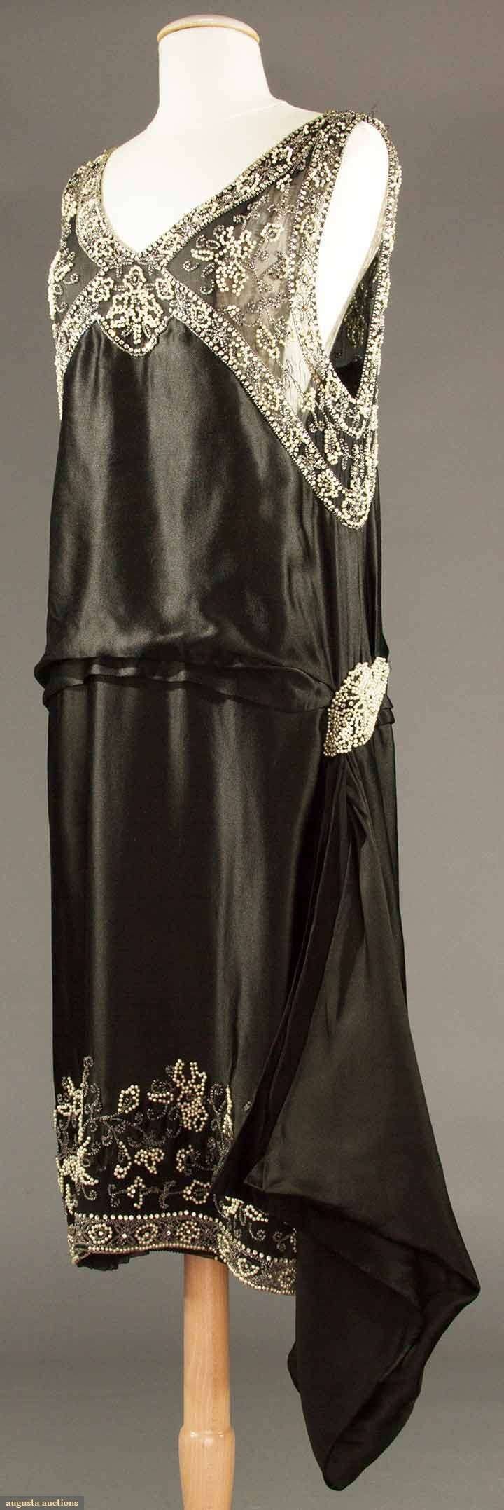 Evening dress, silk and pearls with beads and rhinestones, no label available, 1920s