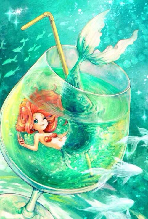 Mermaid inside a drink glass with a straw art