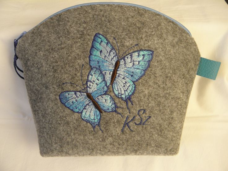felt pourse with butterfly