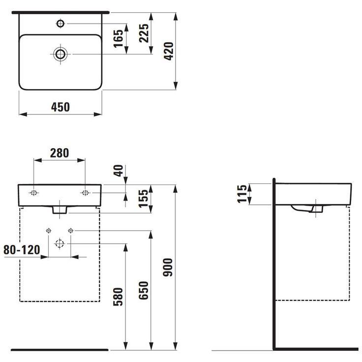 Laufen Val Aufsatz-Handwaschbecken 45 x 42 cm ohne Hahnloch, mit Überlauf H8162800001091 - MEGABAD