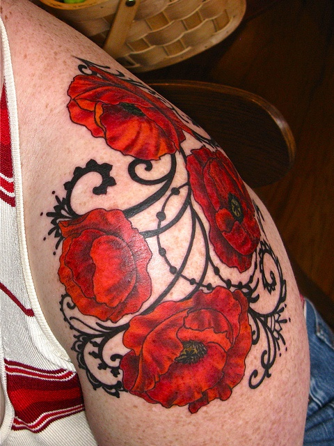 Red poppy tattoo