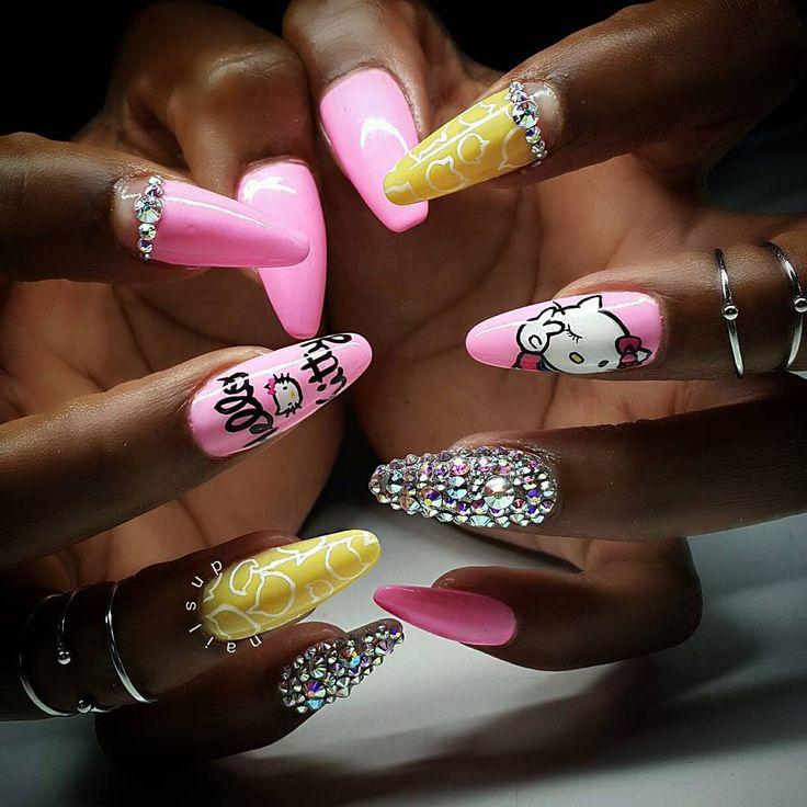 Hello Kitty Stiletto Nails