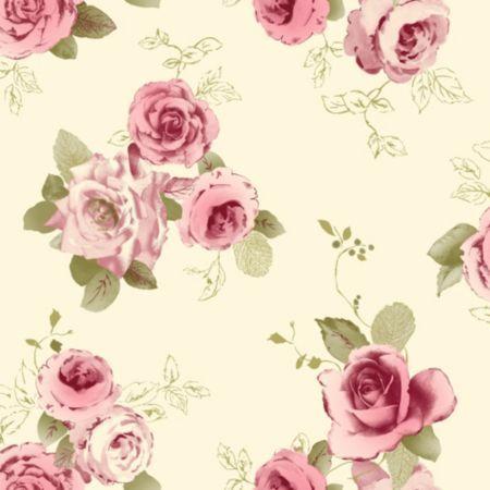 Arthouse Vintage Nicky Cream Green Pink Rose Wallpaper Image 1