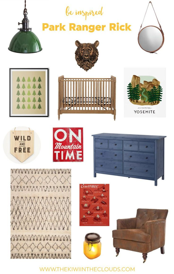Outdoor themed nursery. This boys nursery idea is a perfect blend of masculine and trendy. And these pieces can grow with your baby!