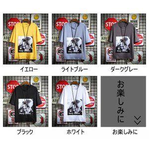 Tシャツ メンズ 5分袖 パーカー ファッション 猫柄 夏  プルオーバー  おしゃれ レイヤード カジュアル ファッション