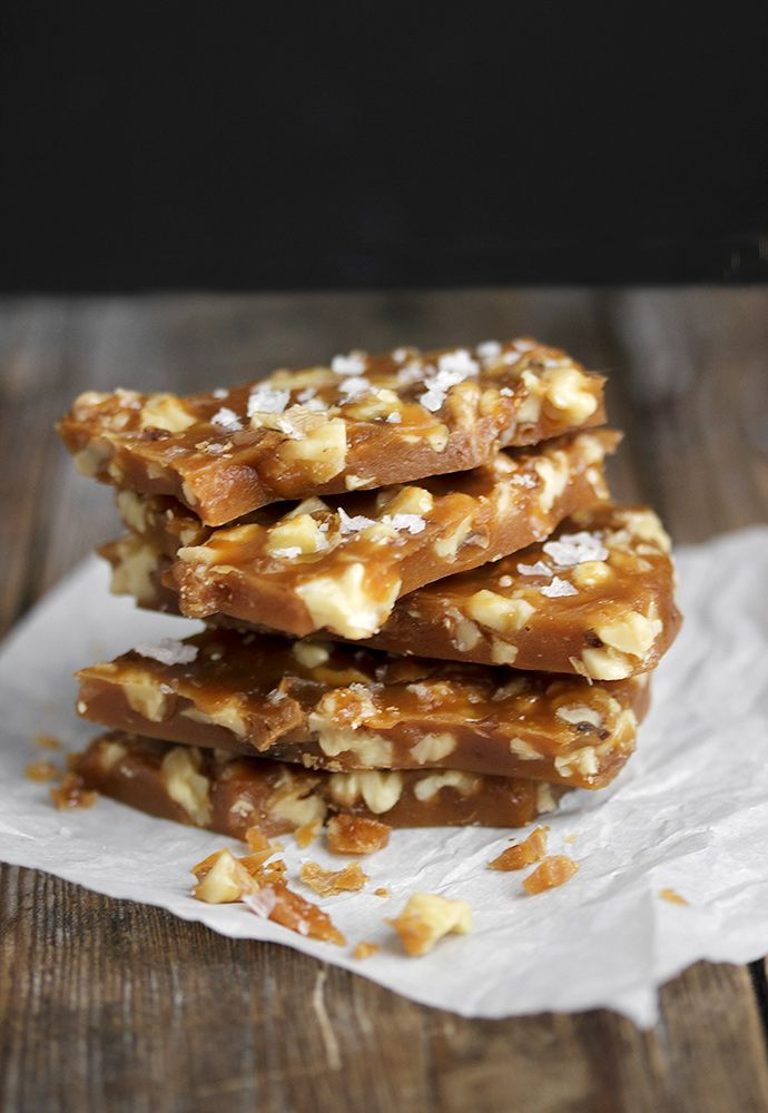 Salted Maple and Toasted Walnut Brittle ~ flavoured with maple syrup and filled with toasted walnuts, this brittle is seriously delicious and delightfully different from the usual.