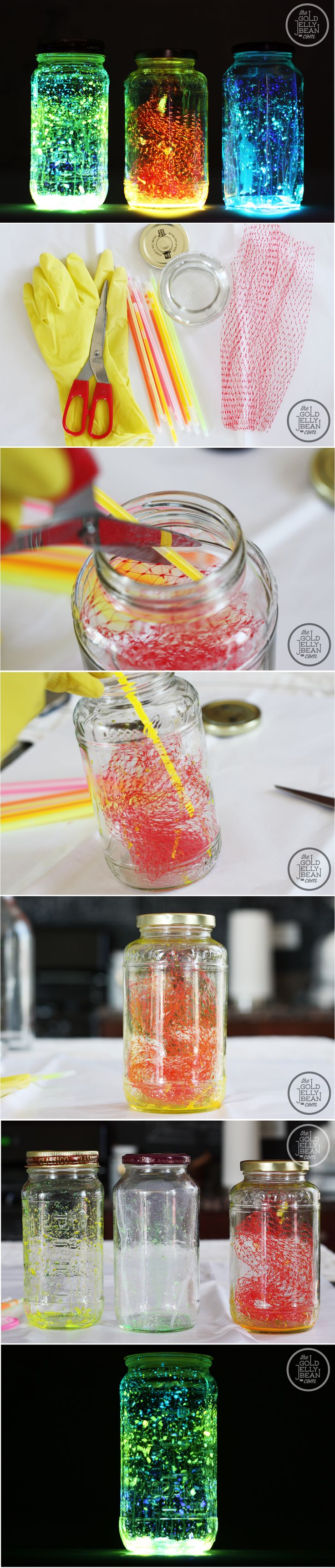 How To Make Colorful Glowing Mason Jar Lights