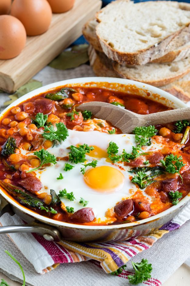 Start the day with bold flavors! This Chorizo and Chickpea Stew with Baked Eggs is a hearty and satisfying brunch. Easy to make for a crowd.