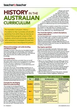 History in the Australian Curriculum. Free printable from R.I.C. Publications.