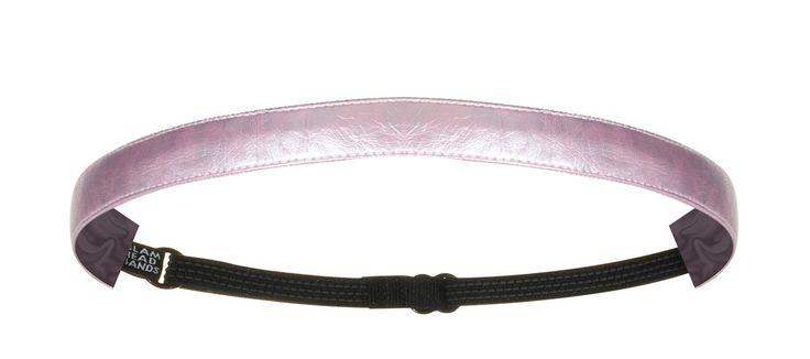"""5/8"""" Metallic Light Pink Faux Leather Non-Slip Adjustable Headband"""