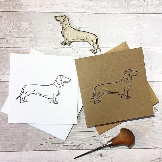 Dachshund greetings card Dog print Sausage dog Birthday
