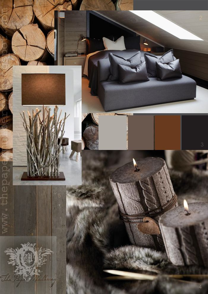 LODGE AND CABIN DESIGN ELEMENT IDEAS | COLORS: Grays, Brown and Black TEXTURES: Woodtones, Weathered Woodtones, Leathers, Fur, Sweater and Birchwood Textured Accessories