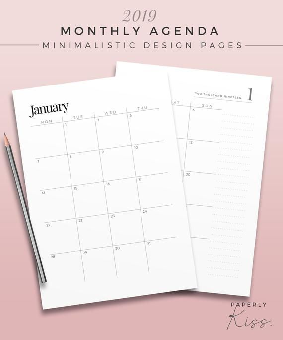 2019 Two Page Monthly Planner Printable Planner Inserts Dated