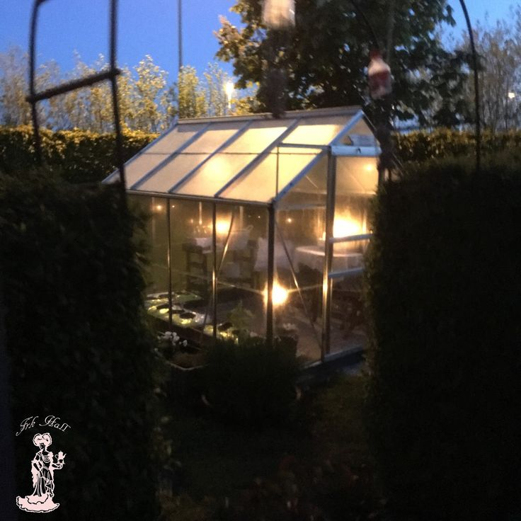 My lovely romantic shabby chic greenhouse, shed by night in my beautiful garden