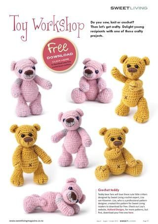 Cute crochet bear at Sweet Living Magazine with link to free pdf pattern at http://issuu.com/sweetlivingmagazine/docs/sweetliving4