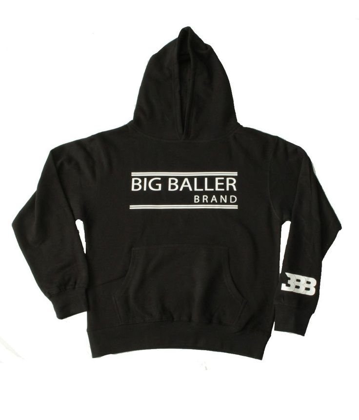 Youth Black Hoodie - Open Double Bar – BIG BALLER BRAND