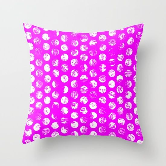 Pink Distressed Spots Throw Pillow by textart