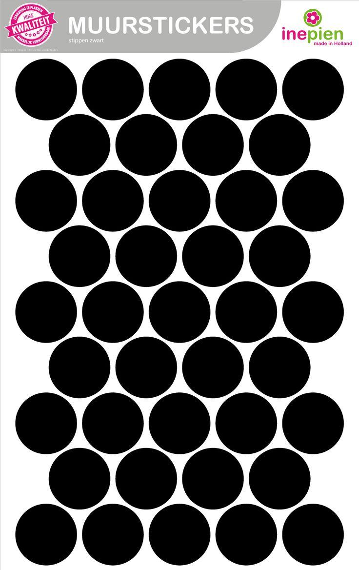 Hippe zwarte stippen van Inepien. Creëer je een geheel nieuwe stoere look op de babykamer met deze mooie muurstickers.