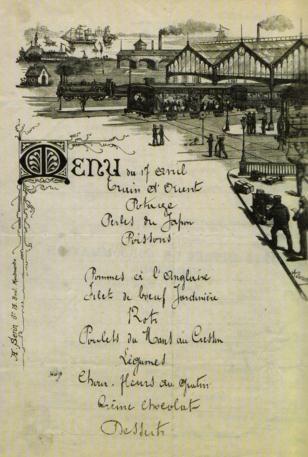 Menu de dîner à bord de l'Express d'Orient le 17 avril 1884