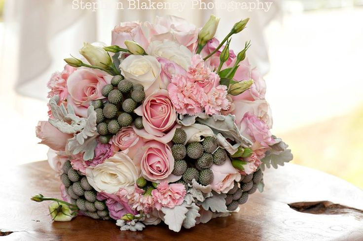 Rose, lisianthus, carnation, brunia berry and Dusty Miller bouquet by Scentiment Flowers, pic by Blakeney Photography