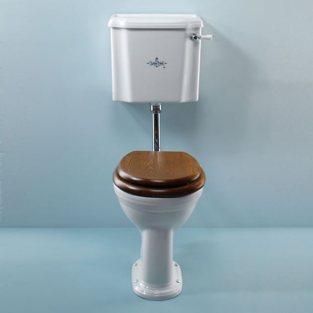 Product image for B.C. Sanitan Victorian White Low Level Toilet Suite With Logo
