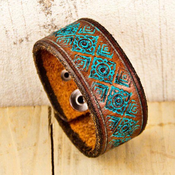 Leather Cuff Bracelet Handmade from a Vintage Belt - $35 - http://www.rainwheel.etsy.com