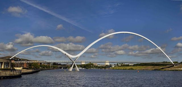 Infinity Bridge is a pedestrian footbridge across the River Tees in the borough of Stockton-on-Tees in the north east of England.