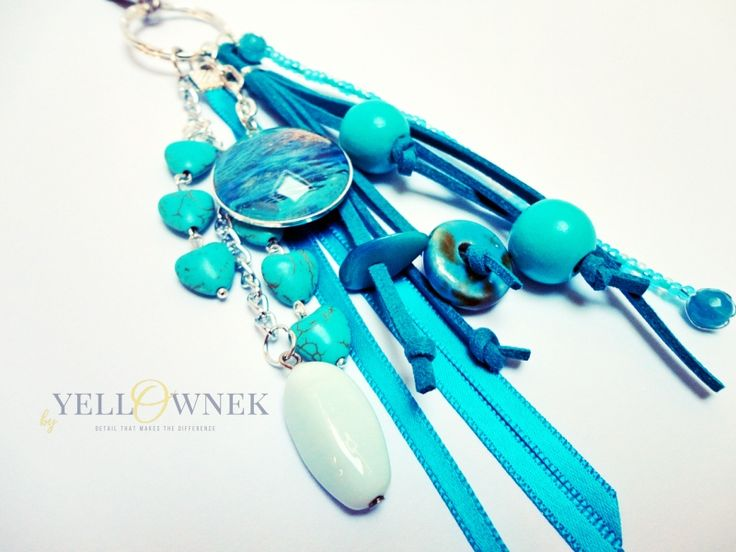 BLUE LAGOON Handmade bag charm/keyring. Mix of leather, glass cabochon, chains glass/ceramic/wood/plastic beads and satin ribbon.