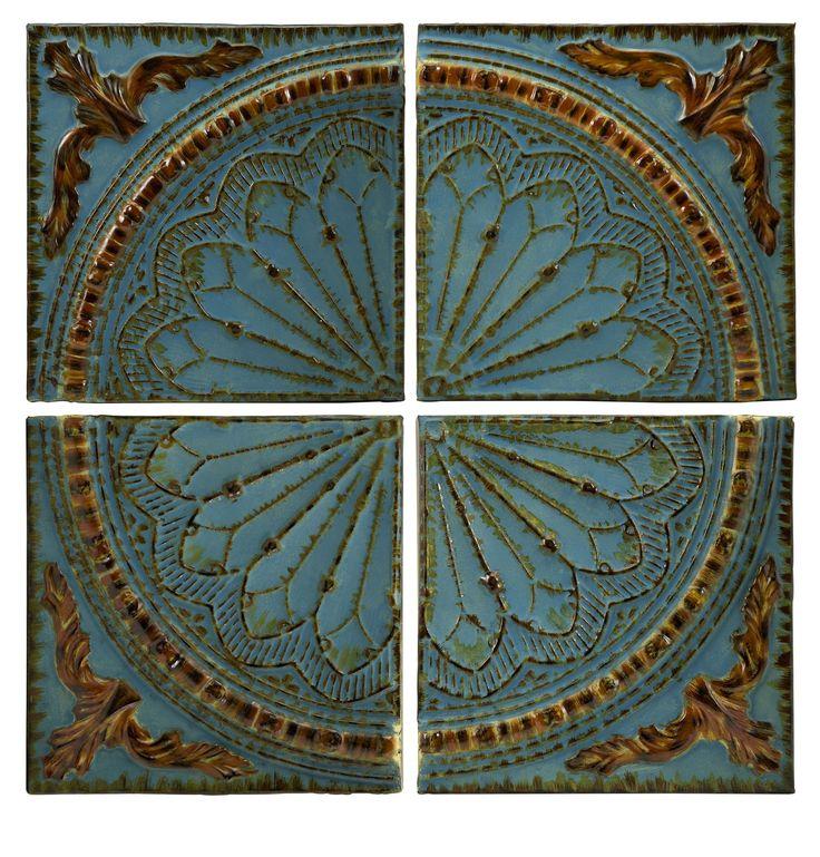 blue quarter medallion set of 4 wall panels