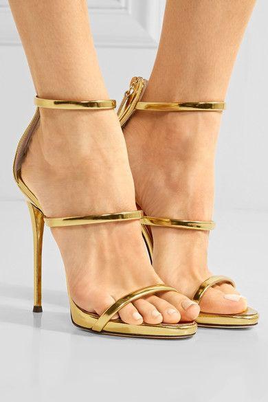 Giuseppe Zanotti - Harmony Metallic Leather Sandals - Gold - IT39.5