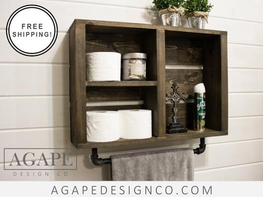 rustic bathroom wall shelf with industrial towel bar by agape design co