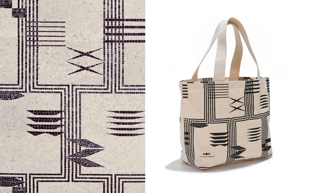 "Barnes Collection bags by Pentagram: Tote bags feature a pattern taken from an African ""liar's cloth"" textile in the collection that also inspired the pattern of the Light Court floor, seen at left."