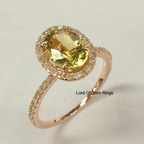 $339 Oval Peridot Engagement Ring Pave Diamond Wedding 14K Rose Gold – Lord of Gem Rings