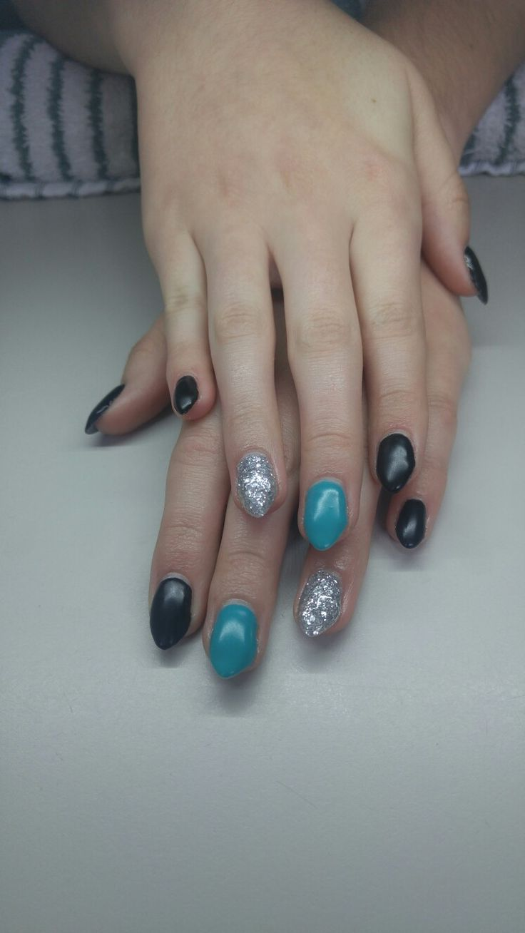 .teal black and silver