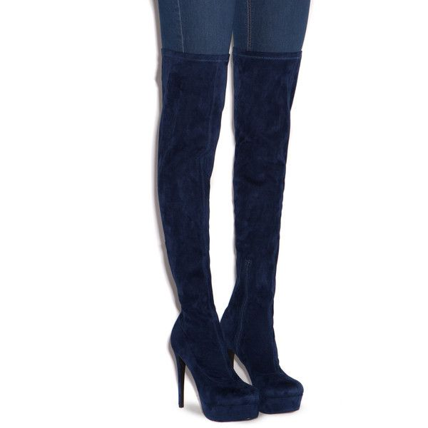 ShoeDazzle Boots - Over The Knee Phoebe Stretch Thigh-High Boot Womens... ❤ liked on Polyvore featuring shoes, boots, blue, boots - over the knee, sexy over the knee boots, sexy boots, blue thigh high boots, stretch boots and stretch over the knee boots