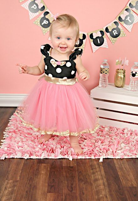 Pink and Gold birthday dress MINNIE MOUSE costume dress TUTU