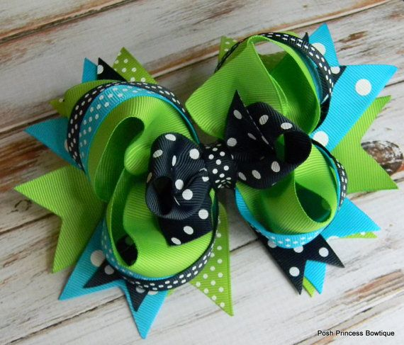Girls hair bows Navy blue Turquoise and Green by PoshPrincessBows1, $12.99