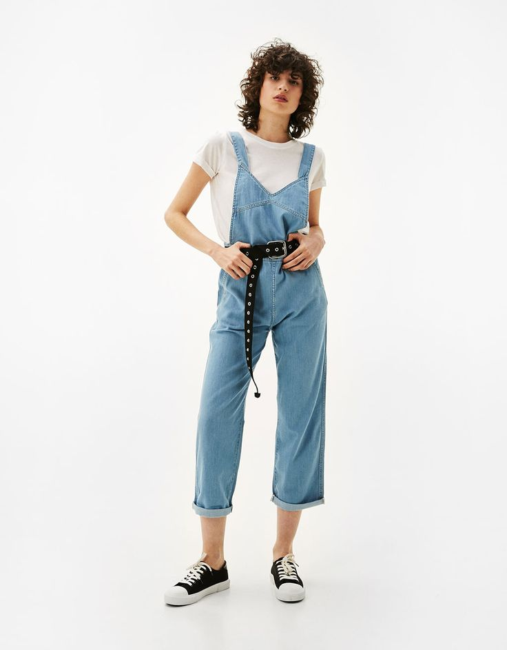 Denim culotte overalls. Discover this and many more items in Bershka with new products every week